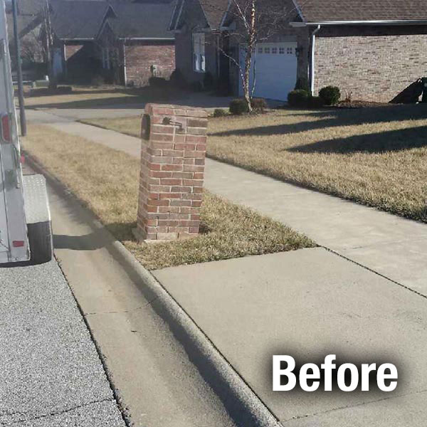 Maryville Brick Mailbox Leveling - Before